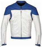 Blau und Weiß Motorrad Lederjacke