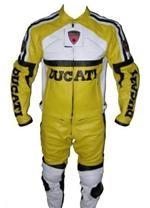 Ducati Lederkombi gelbe Farbe Weiß
