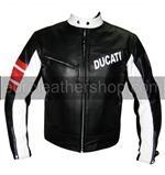 Ducati Mode Motorrad-Lederjacke Schwarz Weiß