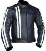 Farbe schwarz Motorrad-Lederjacke mit weißen Streifen