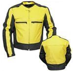 Gelb und Schwarz Farben Motorrad-Lederjacke