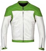 Grün und Weiß Farbe Motorrad Lederjacke