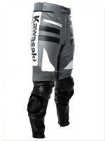 Grau Weiß und Schwarz Kawasaki Motorrad Lederhose
