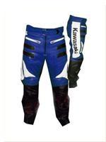 Kawasaki Blau Weiß Motorrad Lederhose