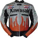 Kawasaki Flamme Stil Motorrad Lederjacke