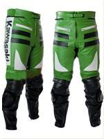 Kawasaki Grün Weiß und Schwarz Motorrad Lederhose