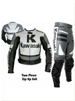 Kawasaki Grau Farbe Motorradrennen Lederkombi