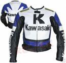 Kawasaki R Motorrad Blau Weiß und Schwarz Farbe Lederjacke