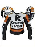 Kawasaki R Racing Orange Weiß Schwarz Motorrad Lederjacke