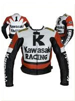 Kawasaki R Racing rot weiß schwarz Motorrad Lederjacke