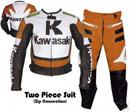 Kawasaki R Rennmaschine Lederkombi orange Farbe