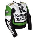 Kawasaki R Rennsport Motorrad Lederjacke Grün Weiß und Schwarz Farbe