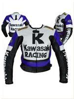 Kawasaki blau weiß schwarz Motorradrennen Jacke