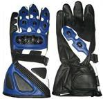 Motorrad Lederhandschuhe Blaue Farbe