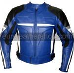 Motorrad Lederjacke blau schwarz weiß grau
