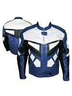 Motorrad Lederjacke schwarz weiß blau