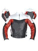 Motorrad Lederjacke schwarz weiß rot