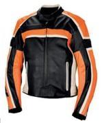 Motorrad Lederjacke schwarz weiß und orange Farbe
