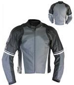 Motorrad Mode Lederjacke schwarz und grau