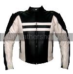Motorradrennen Lederjacke in Schwarz und Weiß