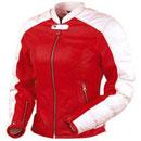 Rot und Weiß Farbe Damen Motorrad Lederjacke