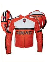 Rot und Weiß Farbe Ducati Motorrad-Lederjacke