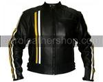 Schwarz Farbe Motorrad-Lederjacke mit gelben weißen Streifen