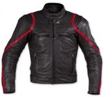 Schwarz Motorrad Jacke mit roten Streifen