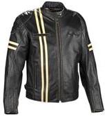 Schwarz Motorrad Jacke mit weißen Streifen