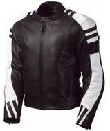 Stilvolle Schwarz und Weiß Motorrad Lederjacke