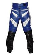 YAMAHA Blau Schwarz und Weiß Farbe Motorrad Leder Hose
