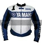 Yamaha 1 Joe Rocket Motorrad-Lederjacke blau weiße Farbe