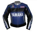 Yamaha Duhan 46 Motorrad-Lederjacke mit silbernen Kragen