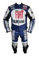Yamaha FIAT Motorradrennen blaue Farbe Lederkombi