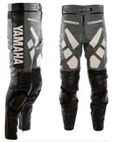 Yamaha Grau und Schwarz Motorrad Lederhose