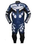 Yamaha R1 blau weiße Farbe Motorrad Lederkombi