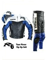 Yamaha R6 Blau Schwarz Weiß Motorradrennen Lederkombi