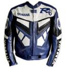 Yamaha R6 Blau und Weiß bike racing Lederjacke