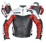 Yamaha R6 Motorrad-Lederjacke rot weiß schwarz