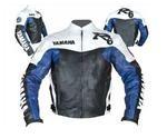 Yamaha R6 Motorrad-Lederjacke weiß schwarz blau