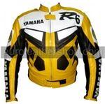 Yamaha R6 Motorrad Lederjacke Gelb Farbe