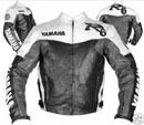 Yamaha R6 Schwarz-Weiß und Grau Farbe Motorrad Lederjacke