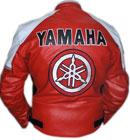 Yamaha roten und weißen Motorradfahren Lederjacke
