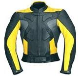 gelb und schwarz Motorrad Lederjacke