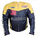 gelbe Farbe schwarz SUZUKI Motorrad-Lederjacke