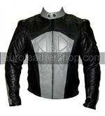 grau und schwarz Motorrad Lederjacke mit Rückenhöcker