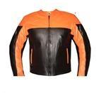 orange und schwarz Motorrad Lederjacke