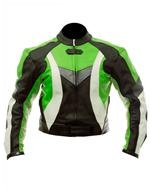 reiten Mode Motorrad-Lederjacke grün schwarz weiß