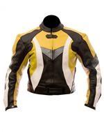 reiten Mode Motorrad Lederjacke gelb schwarz weiß