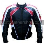 stilvolle Mode Motorrad-Lederjacke mit rotem weißem Innenfutter